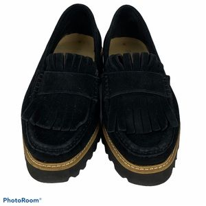 Ron White Black Suede Fringe Loafers